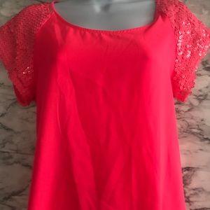 Express womens XS neon pink sequin sleeve shirt
